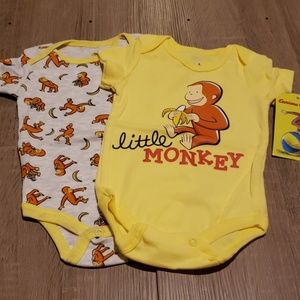 **5 for $15** Two Curious George Onesies